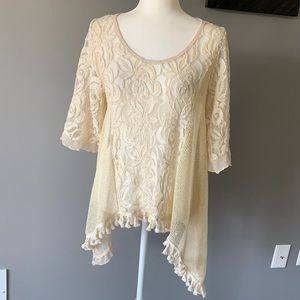 Coco + Carmen Lace Sheer Pullover Tunic Ivory